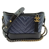 【奢華時尚】CHANEL 藍色拚黑色V形紋牛皮金銀雙鍊肩背斜背兩用小流浪包(九成新)#25007