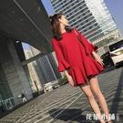 春秋裝新款女裝名媛小香風氣質顯瘦直筒裙子紅色休閒魚尾連身裙