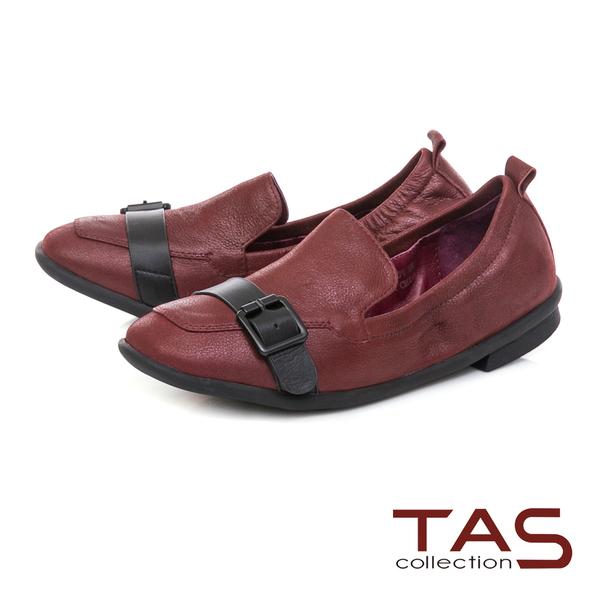 TAS 一字皮帶扣素面牛皮樂福鞋-品味紅