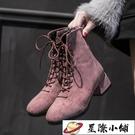 帥氣馬丁靴女酷街頭秋季新款網紅英倫風百搭粗跟瘦瘦短靴單靴 星際小鋪