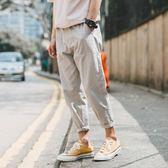夏季男士韓版寬鬆小腳休閒褲百搭工裝褲青年學生哈倫九分褲  遇見生活