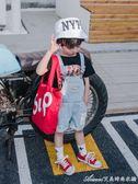 夏季男童牛仔背帶褲韓版休閒短褲童裝兒童中小童褲子新款寶寶艾美時尚衣櫥
