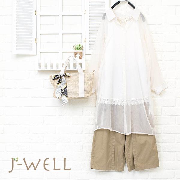 J-WELL 雪紡輕盈感長襯衫背心寬褲三件組 (組合973 8J1492米+8W1139白M/L+8J1532卡其F)
