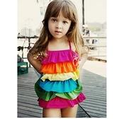 現貨 彩虹連身泳裝 肩帶可調 寶寶游泳衣泳裝 玩水 橘魔法 Baby magic 女童 兒童 泳裝