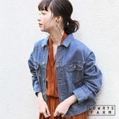 LOWRYS FARM素色復古落肩短版棉質牛仔外套-三色