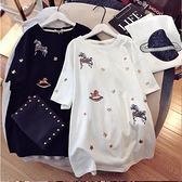 孕婦夏裝上衣t恤中長款純棉短袖孕婦T恤寬鬆大碼韓版潮打底衫夏季