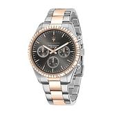 【Maserati 瑪莎拉蒂】COMPETIZIONE鋸齒錶圈三眼雙色鋼帶腕錶/R8853100020/台灣總代理公司貨享兩年保固