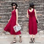 夏季新款韓版外穿連衣長裙長款莫代爾收腰蛋糕裙孕婦裝大碼連身裙color shop