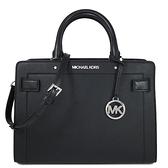 MICHAEL KORS RAYNE銀防刮皮革手提包 斜背包 兩用包(黑色)-35S0SU9S2L