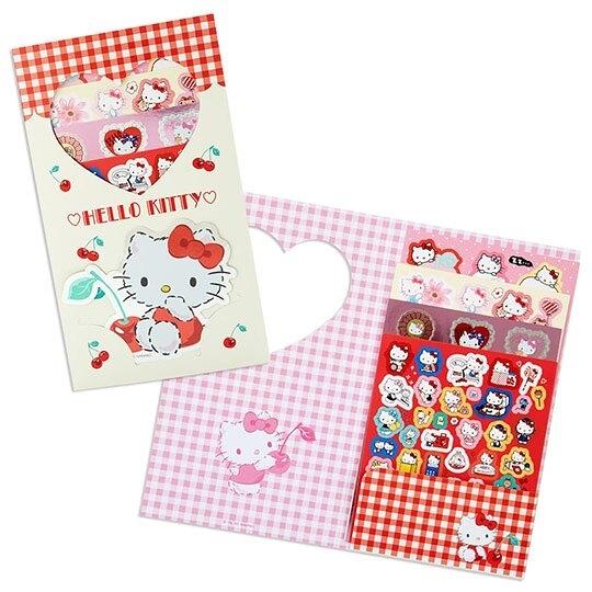 〔小禮堂〕Hello Kitty 日製造型貼紙組附收納夾《米紅.櫻桃》200枚入.裝飾貼.手帳貼紙 4901610-16270
