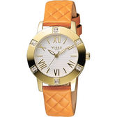 VOGUE 時尚菱格紋羅馬腕錶-白x橘/34mm 2V1501-341YGD-YG
