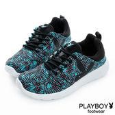 PLAYBOY 熱力節奏~南洋風印花休閒鞋-黑藍