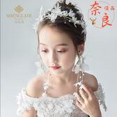 兒童頭花耳墜套裝花環頭飾髮帶百搭花童婚紗飾品演出【奈良優品】