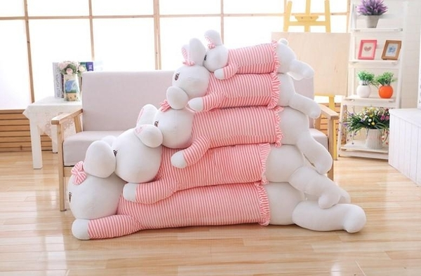 【150公分】條紋衣的草莓兔抱枕 絨毛玩偶 聖誕節交換禮物 情人節禮物 男朋友抱枕