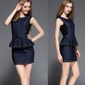 洋裝-荷葉邊OL顯瘦性感修臀塑身無袖包臀連身裙71ar37【巴黎精品】