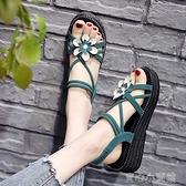 厚底涼鞋 平底絨面涼鞋女2021夏季新款花朵水鉆套腳涼鞋露趾厚底坡跟羅馬鞋 17育心