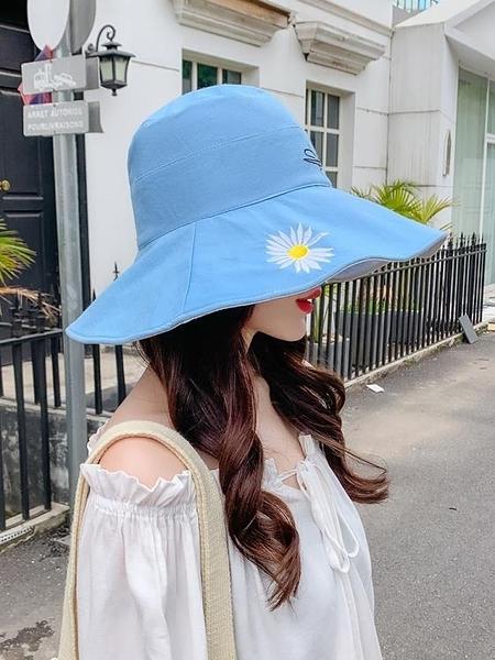 女潮牌夏顯臉小雛菊遮臉韓版大帽檐沿百搭雙面太陽防曬帽子