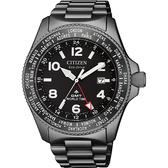 CITIZEN 星辰 PROMASTER GMT 限量光動能兩地時間手錶-灰/42mm BJ7107-83E