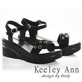 ★2018春夏★Keeley Ann簡約美感~閃爍星星腳踝釦帶厚底涼鞋(黑色)
