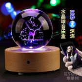 音樂盒 水晶球麋鹿木制藍牙音樂盒八音盒diy手工送女孩創意生日禮物女生 京都3C