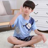 兒童睡衣男童夏短袖夏中大童套裝可愛卡通純棉