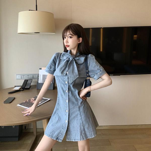超殺29折 韓國風蝴蝶結單排扣收腰顯瘦牛仔短袖洋裝