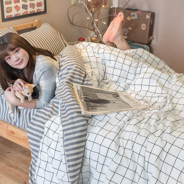 Cube&Line【床包灰線條】雙人5X5.5涼被乙件 舒適磨毛布 台灣製造