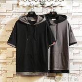 夏季日系假兩件短袖T恤男士加大碼連帽T恤寬鬆潮流胖子衣服體恤 可然精品