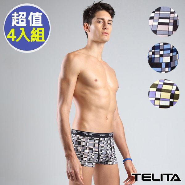 【TELITA】男內褲~印象派印花平口褲/四角褲(超值4件組)