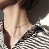 S925銀項鍊女鎖骨鍊短款頸鍊鎖骨個性簡約銀豆choker頸帶非純銀洛麗的雜貨鋪