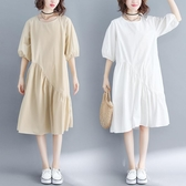 洋裝 連身裙胖MM不規則純色中長款百褶裙短袖A字純色燈籠中袖連衣裙
