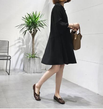 洋裝。荷葉邊七分袖連衣裙氣質中長款小黑裙中大尺碼 XL-5XL休閒裙T裙  韓依紡
