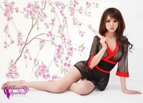 星光密碼【H212】櫻花紛飛純情薄紗角色扮演和服三件組性感睡衣