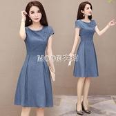 復古洋裝女新款女裝中長款小個子氣質夏裝顯瘦短袖夏天裙子 快速出貨