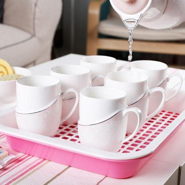 茶花塑料瀝水茶盤水杯水果雙層托盤方形兒童寶寶餐盤【快速出貨八五折】JY
