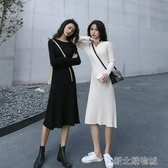 紓困振興 洋裝秋季新款韓版學生氣質裙子收腰顯瘦針織裙中長款長袖洋裝女 新北購物城
