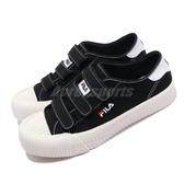 Fila 餅乾鞋 319T 黑 白 小Logo 魔鬼氈 男女鞋 休閒鞋 情侶鞋 【PUMP306】 4C319T001
