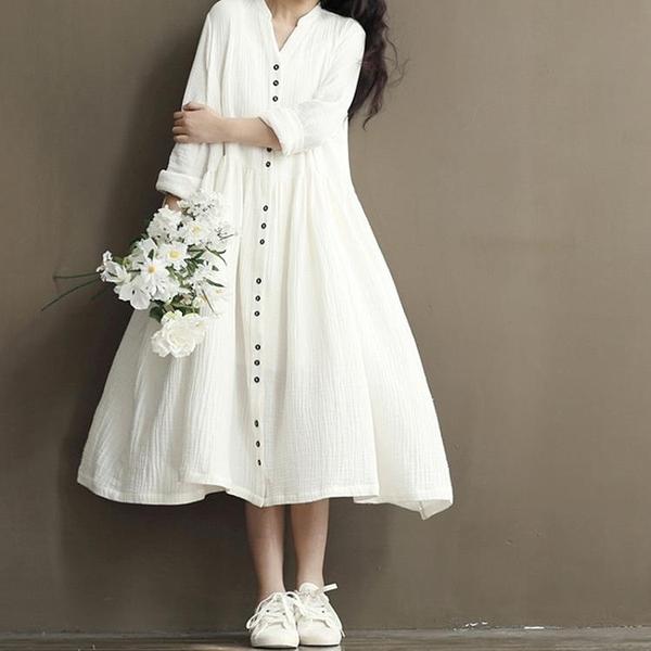 春裝新品1件85折 2020款中國風 文藝范森女系 復古棉麻 大碼長袖連身裙-不含配飾
