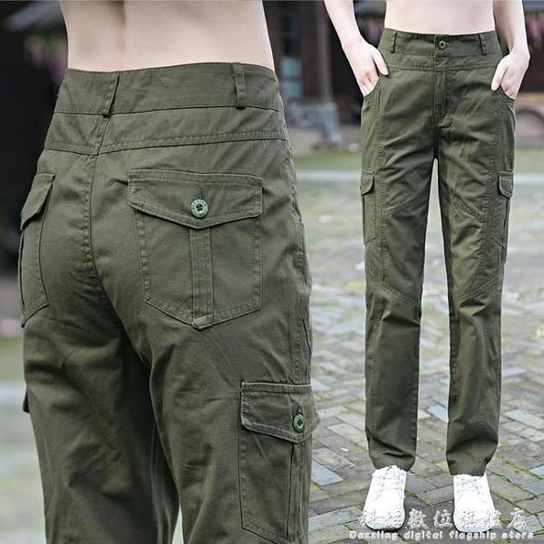 工裝褲女年夏季新款顯瘦高腰寬鬆百搭直筒純棉薄款軍褲休閒褲 科炫數位