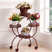 歐式鐵藝多層可移動推拉花架帶輪落地式花盆架 免運