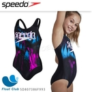 【SPEEDO】女孩 運動連身泳裝 女泳裝 黑銀河紫 SD807386F993 原價1680元