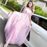 連衣裙女夏2018新款韓版氣質圓領貼花網紗高腰顯瘦長款禮服裙超仙