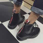 馬丁靴 後拉鍊-英倫時尚巴洛克雕花男中筒靴2色73kw32[巴黎精品]