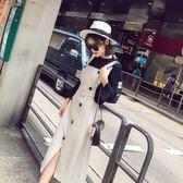 套裝裙 心機裙子設計感吊帶兩件套裝裙條紋背帶連身裙 巴黎春天