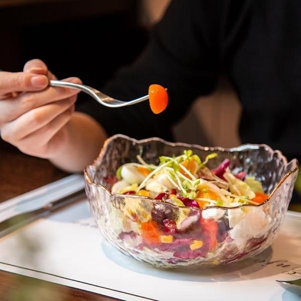 日式金邊錘目紋冰花玻璃碗北歐風家用水果沙拉碗撈網紅甜品水果盤 【米娜小鋪】