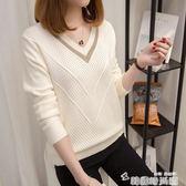 針織衫女套頭短款韓版寬鬆秋裝新款長袖女士V領小清新毛衣 韓國時尚週