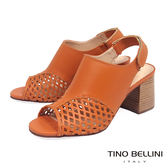 Tino Bellini巴西進口摩登網狀魚口高跟涼鞋_ 橘 A73013 歐洲進口款