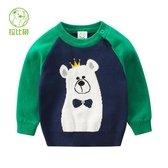 店長推薦 拉比樹童裝兒童秋冬裝男童皇冠熊套頭毛衣寶寶針織衫嬰兒線衫