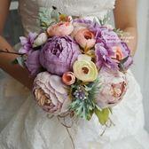 結婚影樓拍照道具新娘手捧花仿真韓式森系清新假花中式西玫瑰牡丹  居家物語