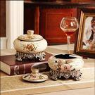 樹脂創意帶蓋煙灰缸收納盒歐式複古田園家居裝飾擺件奢華裝飾